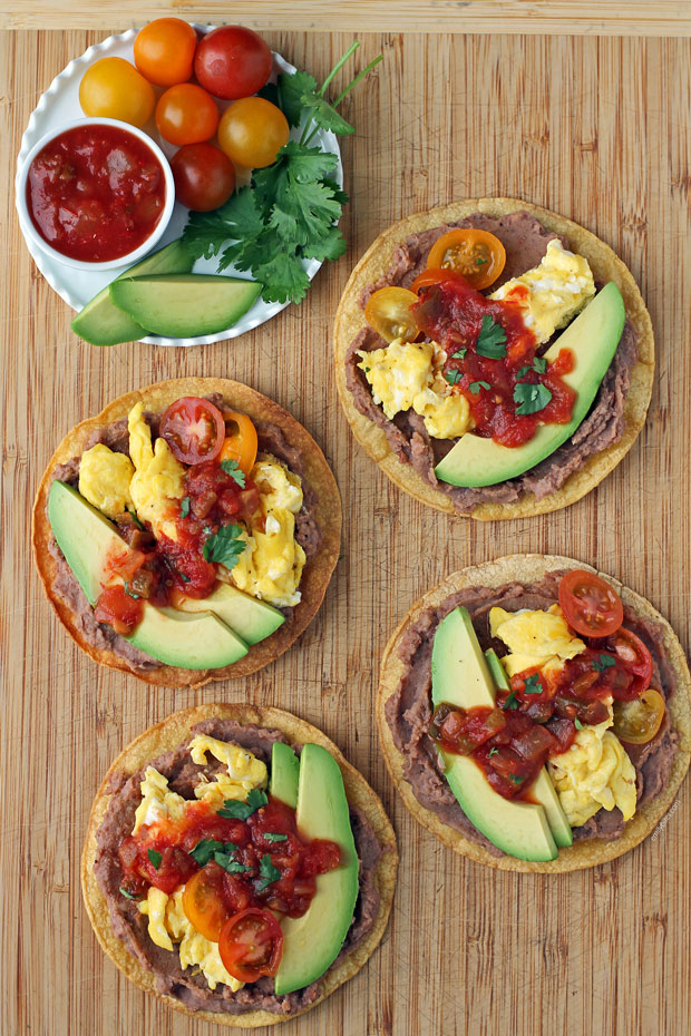 Breakfast Tostadas with toppings