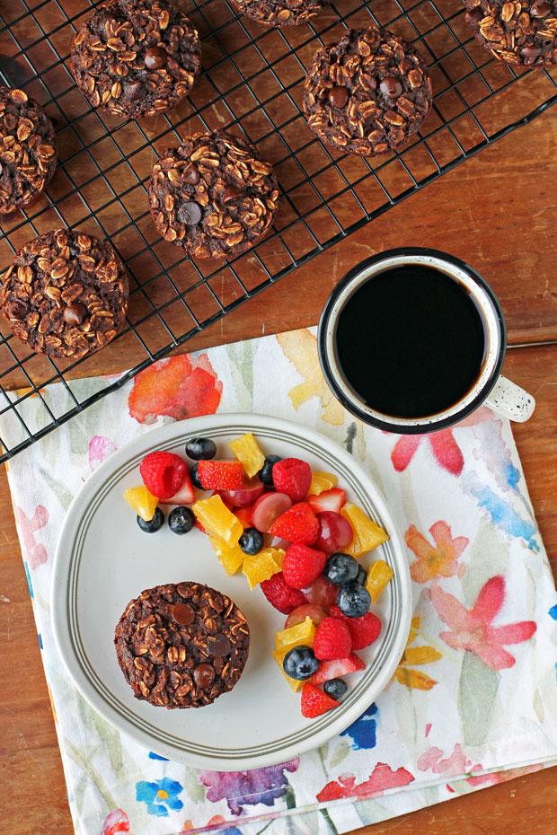 Chocolate Mocha Baked Oatmeal Singles with coffee overhead