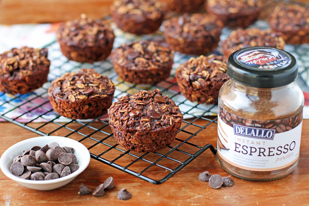 Chocolate Mocha Baked Oatmeal Singles with espresso powder