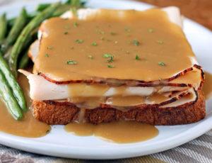 Hot Turkey Sandwich with Gravy close up