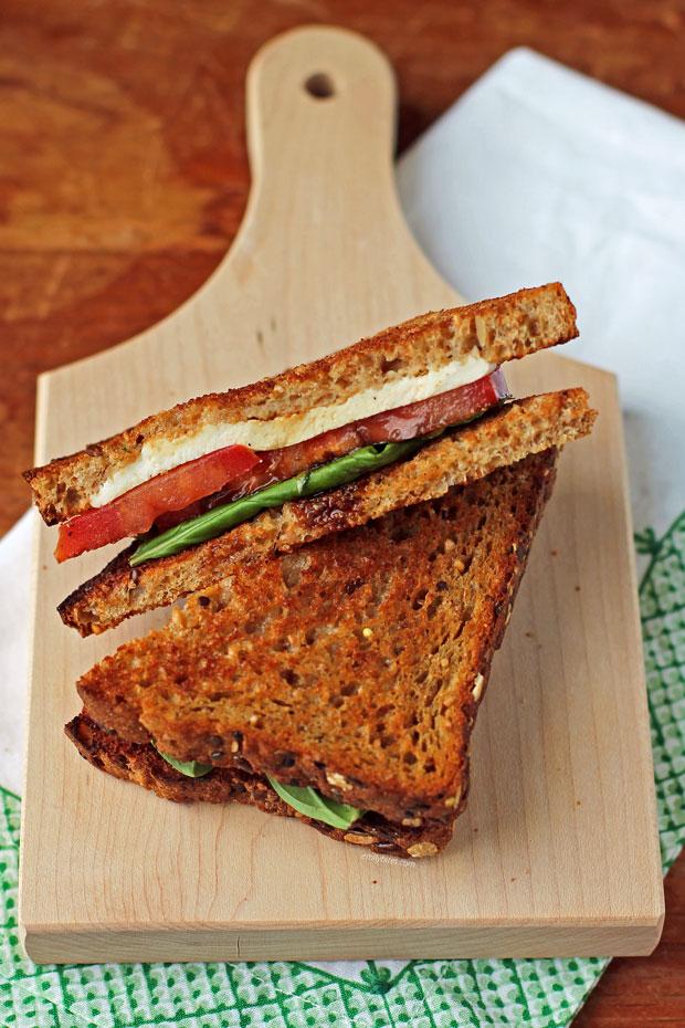 Caprese Sandwich on a board