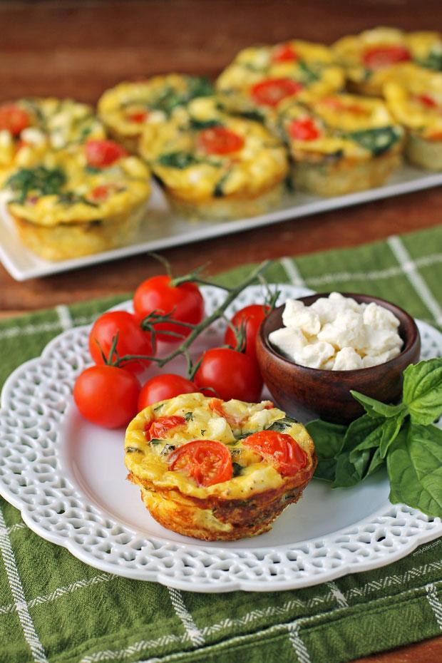 Feta Tomato Mini Frittatas with ingredients