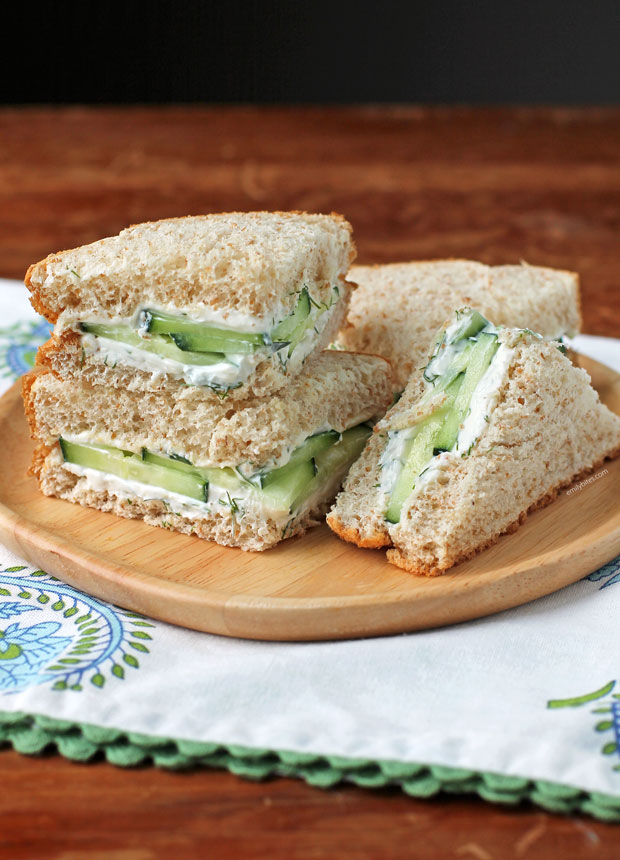 Cucumber Sandwich pieces on a plate