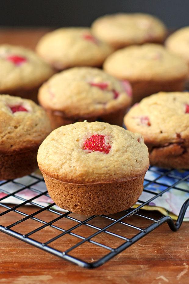 Strawberry Rhubarb Muffins close up