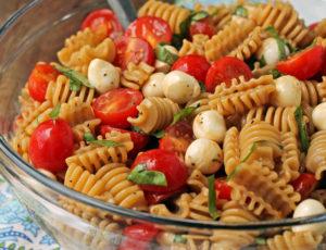 Caprese Pasta Salad in a serving bowl