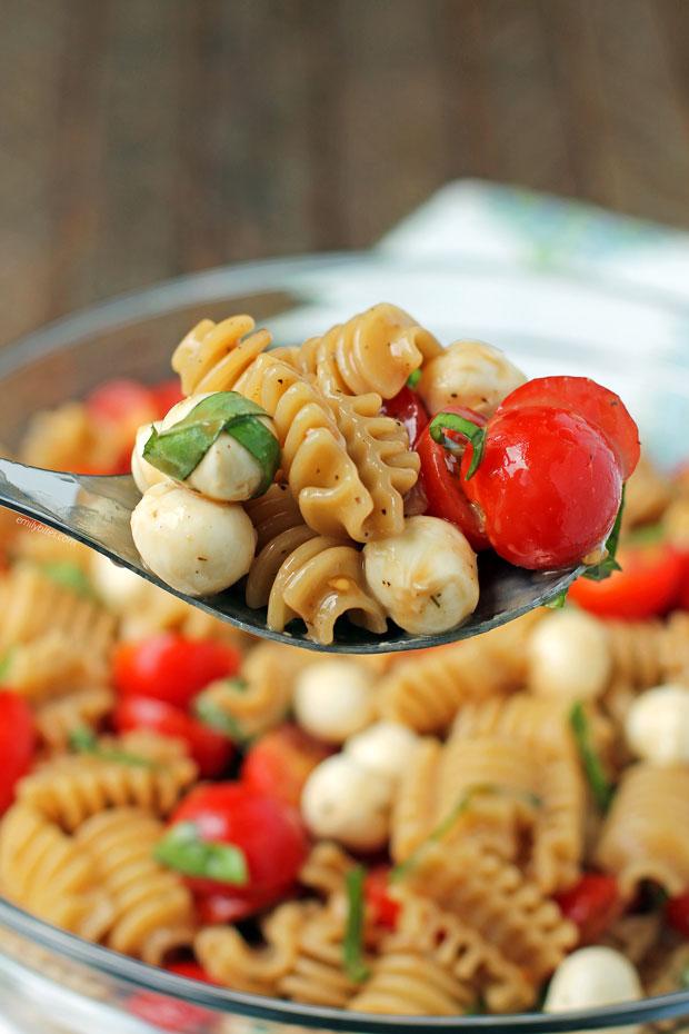 Caprese Pasta Salad on a spoon
