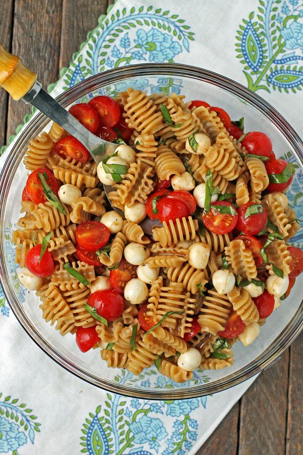Caprese Pasta Salad overhead