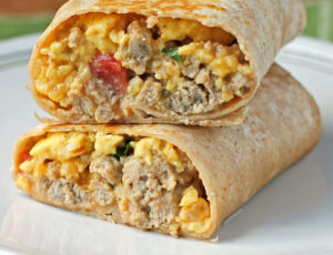 Turkey Sausage Breakfast Burrito cut in half