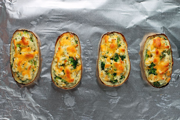 Broccoli Cheddar Twice Baked Potatoes after baking