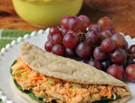 Buffalo Chicken Salad Sandwich with grapes