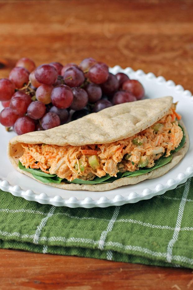 Buffalo Chicken Salad Sandwich on a plate