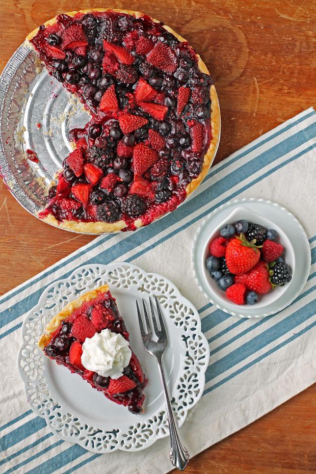 Mixed Berry Pie slice overhead view