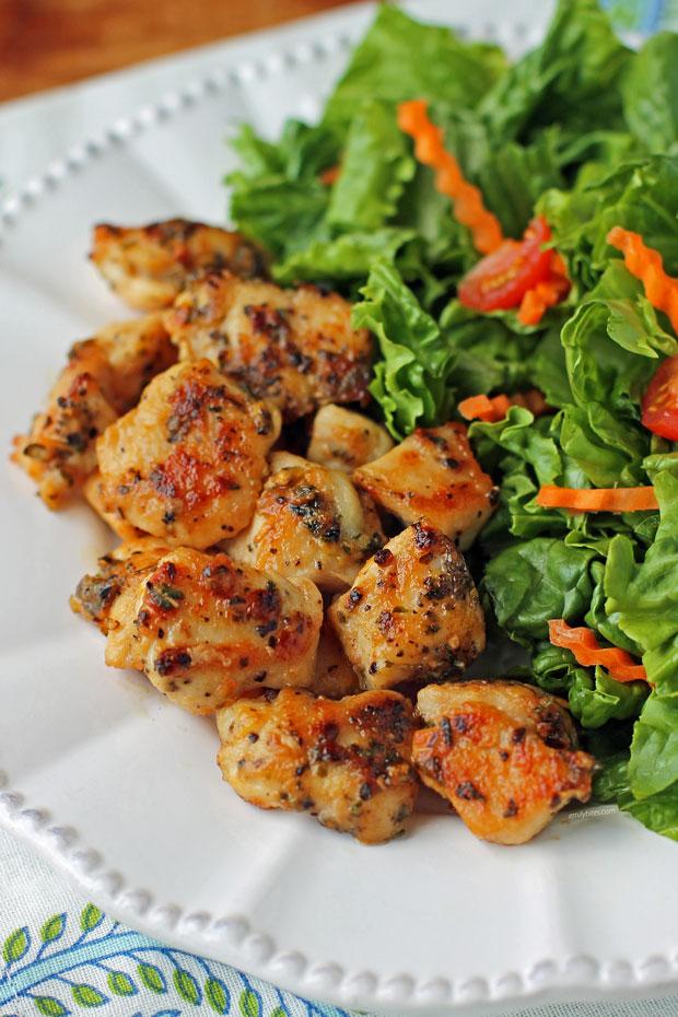 Lemon Pepper Chicken Bites on a plate