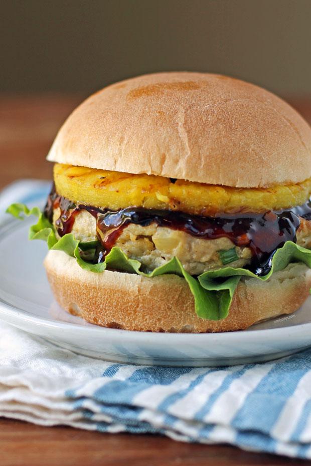 Pineapple Teriyaki Chicken Burger close up
