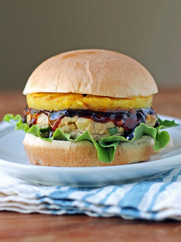 Pineapple Teriyaki Chicken Burger on a plate
