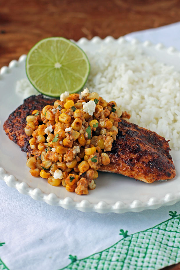 Mexican Street Corn Chicken on a plate