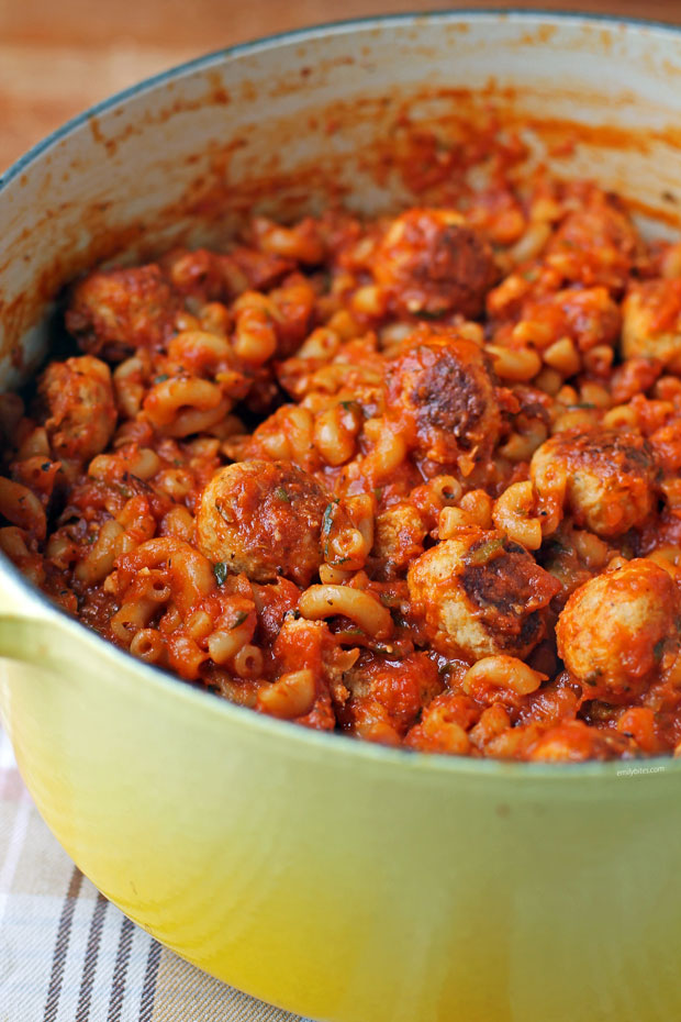 One-Pot Meatballs and Macaroni side view