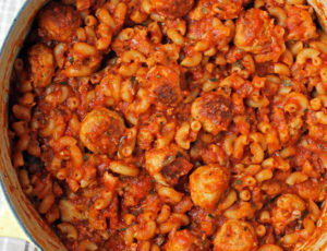 One-Pot Meatballs and Macaroni overhead shot