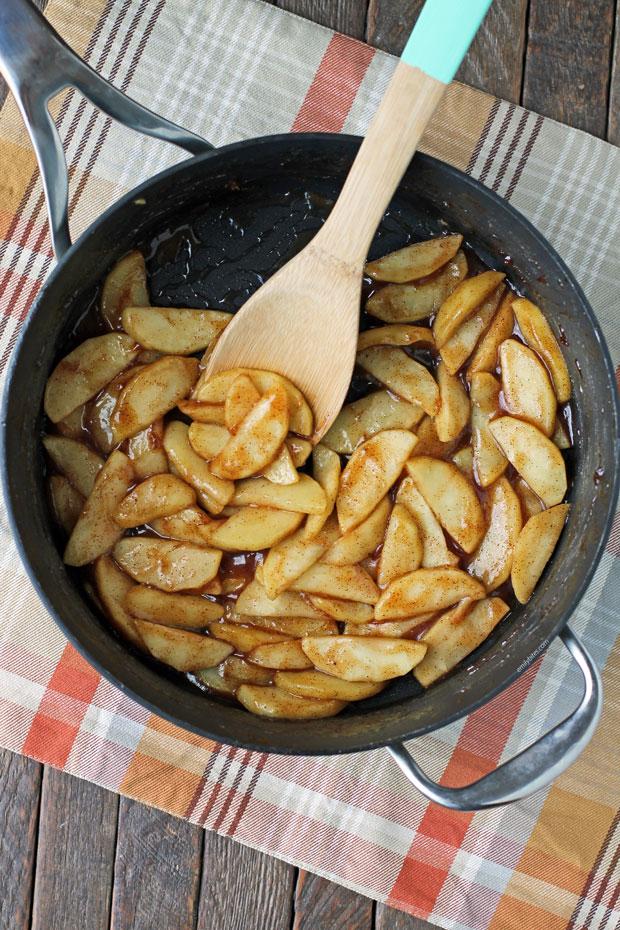 Stovetop Cinnamon Apples in a pan