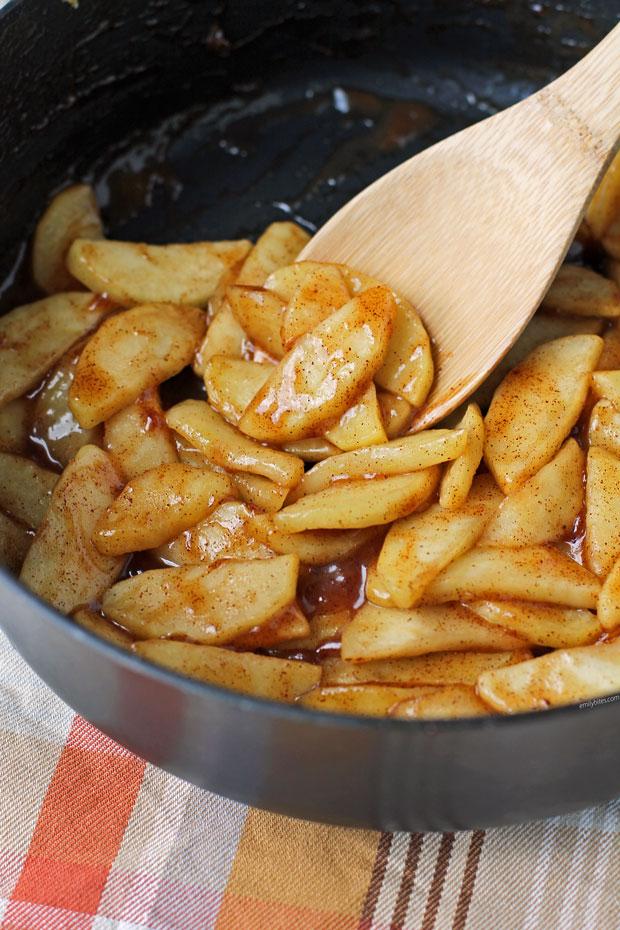 Stovetop Cinnamon Apples close up